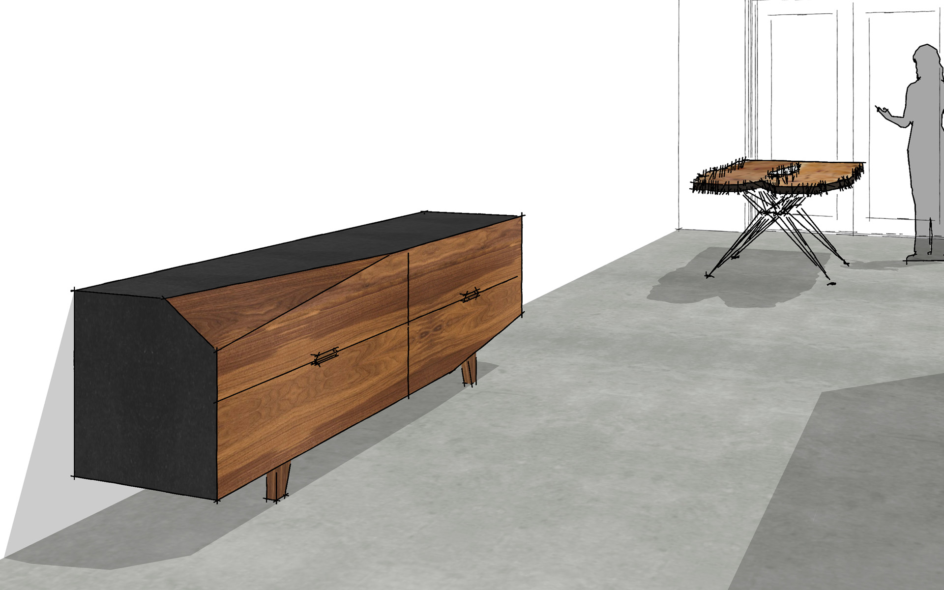 Dressoir Amerikaans Noten hout Studio SOOL